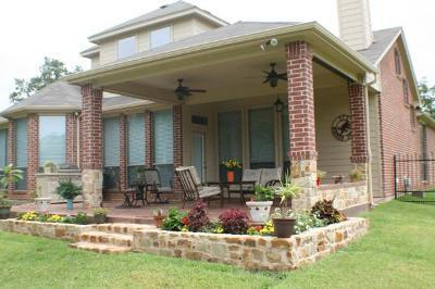 covered patio with brick columns